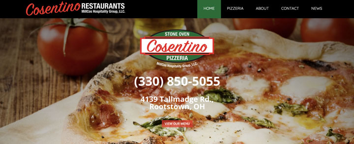 Picture of homepage of Cosentino Pizzeria website